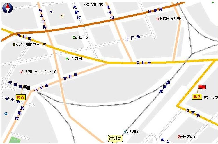 附件:路线图  在哈尔滨火车站龙门大厦前