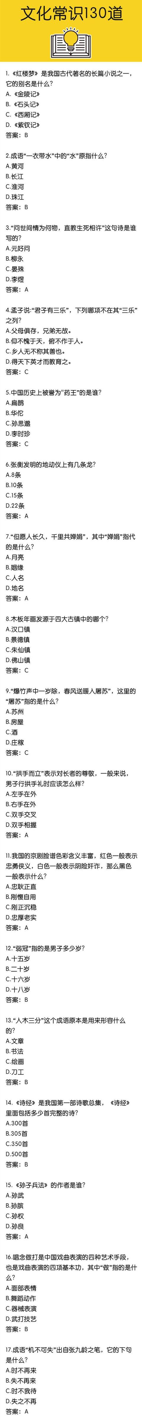 国家公务员考试冲刺复习文化常识130题(1)
