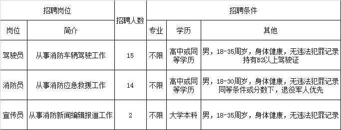 天津武清区消防救援支队招聘合同制消防员31人公告
